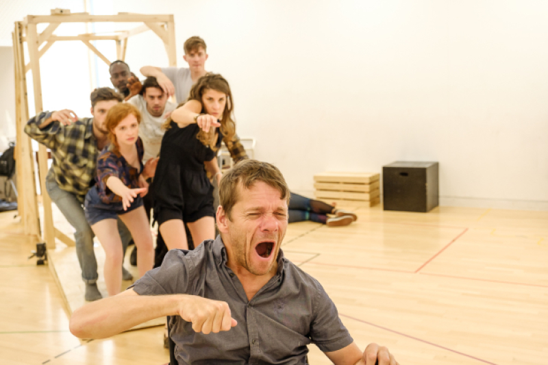 Jamie Beddard and cast in rehearsal for The Elephant Man
